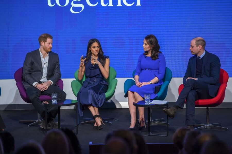 Harry, Meghan, Kate et William au forum annuel de la Royal Foundation, le 28 février 2018, à Londres.