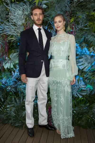 Pierre Casiraghi et Béatrice Borromeo au défilé d'Alberta Ferretti, au Yacht Club de Monaco, le 18 mai 2019.