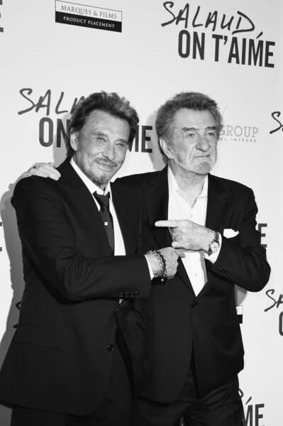 """Johnny Hallyday et Eddy Mitchell à l'avant-première du film """"Salaud On T'Aime"""" en 2014"""