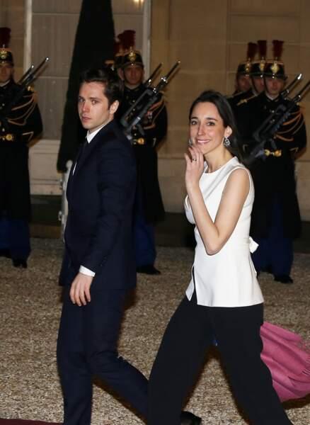 Brune Poirson et son mari à l'Elysée pour un dîner d'Etat à l'Elysée, en mars 2018