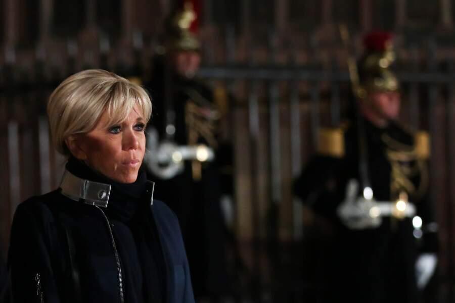 En 2018, à Strasbourg, pour recevoir le président allemand, Brigitte Macron joue sur les symboles avec ce manteau.