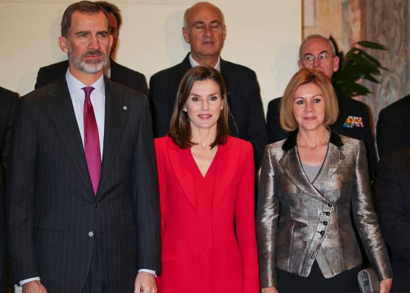 Le roi Felipe d'Espagne et la reine Letizia  très chic le 22 mars 2018