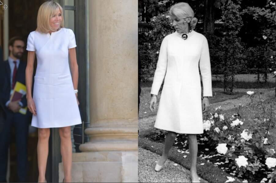 Brigitte Macron et Claude Pompidou, deux Premières dames à l'élégance affirmée.