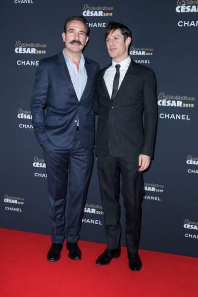 Jean Dujardin et Christophe Montenez à la soirée des révélations des César 2019 à Paris le 14 janvier 2019