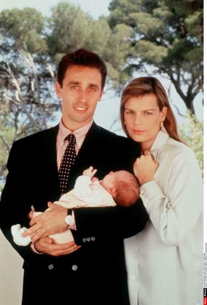 Stephanie de Monaco et Daniel Ducruet en mai 1994, à l'occasion de la naissance de leur fille Pauline