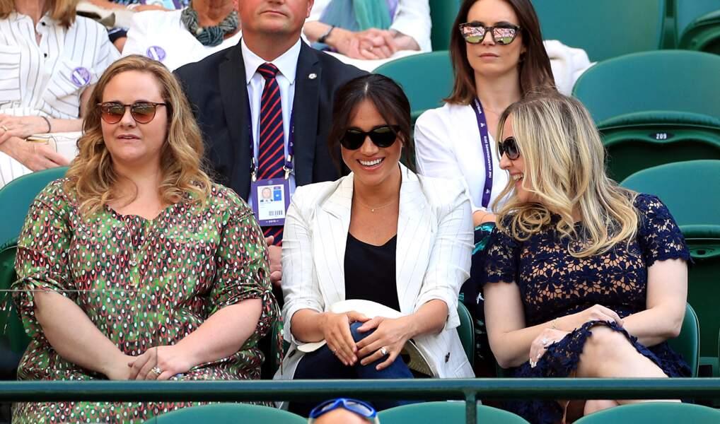 Meghan Markle avec deux amies à Wimbledon, le 4 juillet 2019.