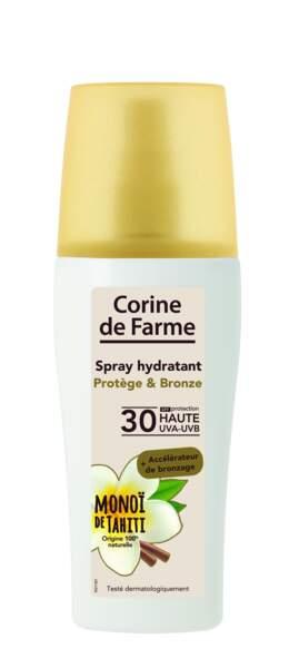 Dans la gamme solaire de Corine de Farme, un spray hydratant qui protège et aide au bronzage, 10,40 €