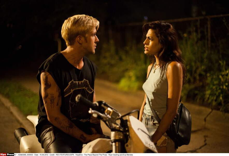 "Ryan Gosling and Eva Mendes dans le film ""The Place Beyond The Pines"" en 2012"