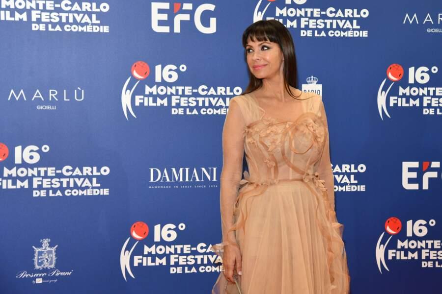 Mathilda May, chic et élégante, au Festival du Film de Monte Carlo, le 9 mars 2019.
