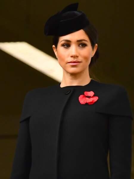 Meghan Markle (enceinte) lors de la cérémonie du centenaire de l'armistice, le 11 novembre 2018