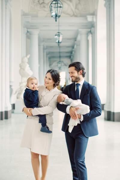Carl Philip, Sofia, Alexander et le petit dernier Gabriel de Suède, en septembre 2017