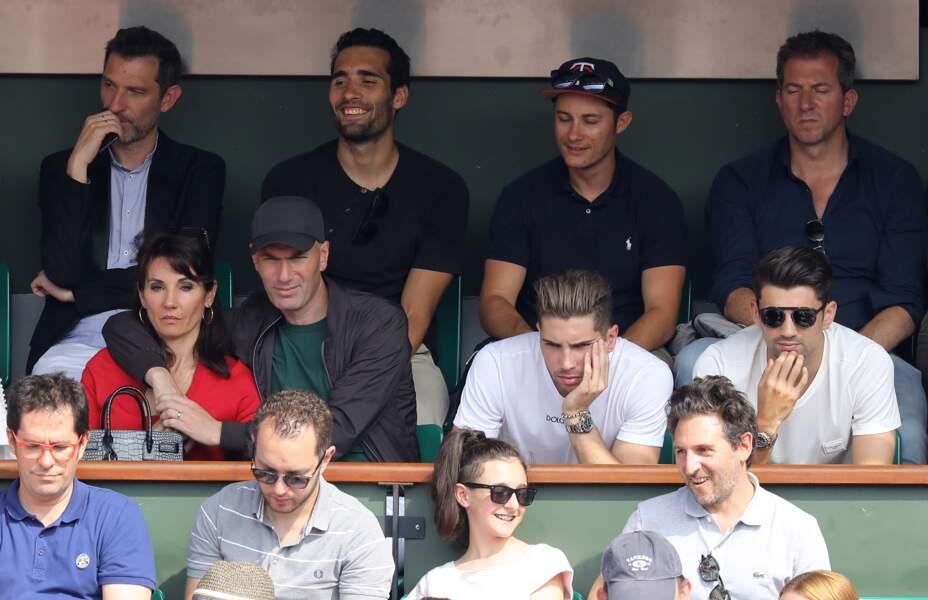 Zinédine, Véronique Zidane et leurs fils Luca et Enzo à Roland Garros le 10 juin 2018