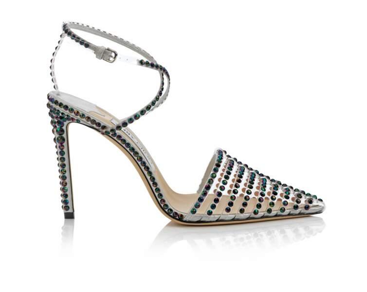 Sandales TAMAI, en plexiglas et cristaux, 1395 €, Jimmy Choo