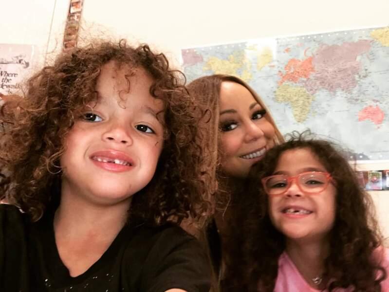 Mariah Carey, à l'école avec ses enfants Moroccan et Monroe
