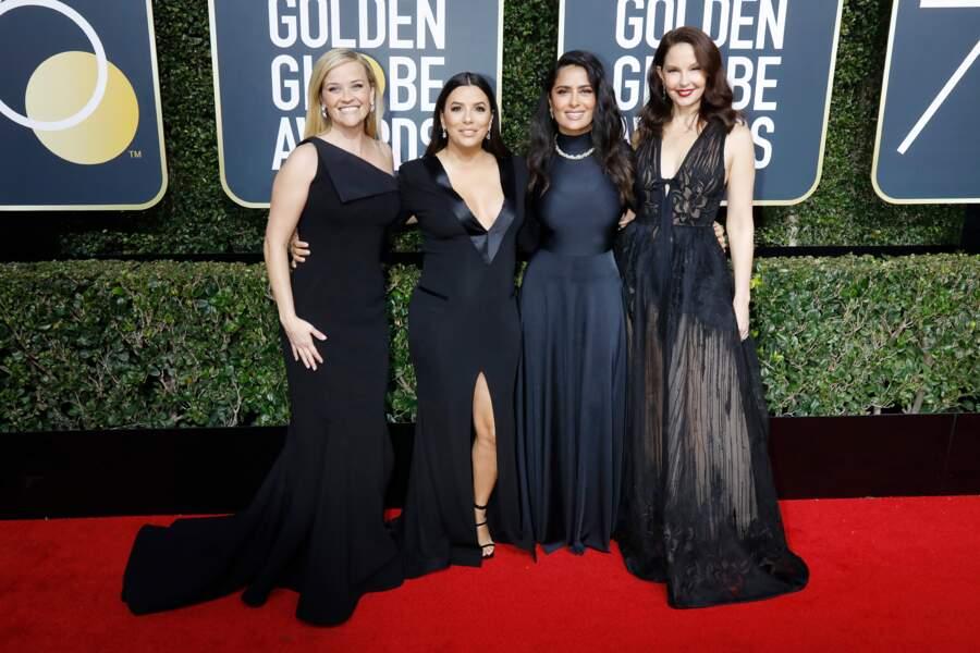 Eva Longoria, très enceinte pose avec ses amies actrices toutes en noir