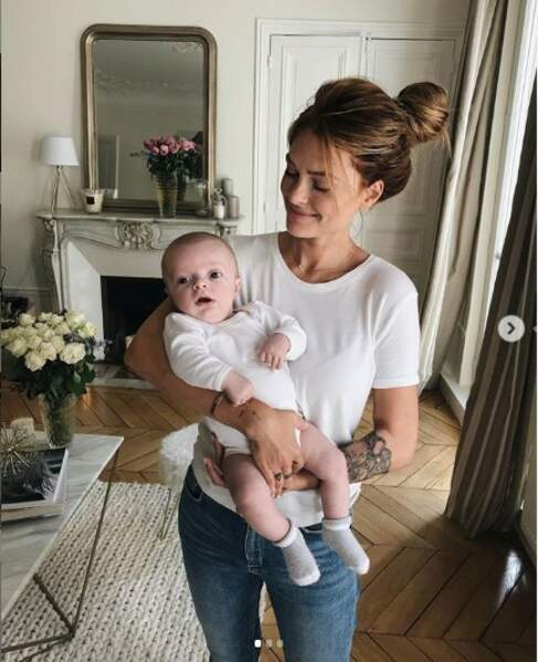 Caroline receveur avec son fils Marlon, rentre déjà dans ses jeans