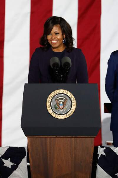 Michelle Obama prononce un discours en l'honneur de son époux