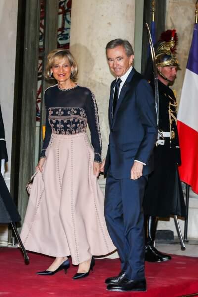 Bernard Arnault, accompagné de sa femme Hélène à son arrivée à l'Élysée