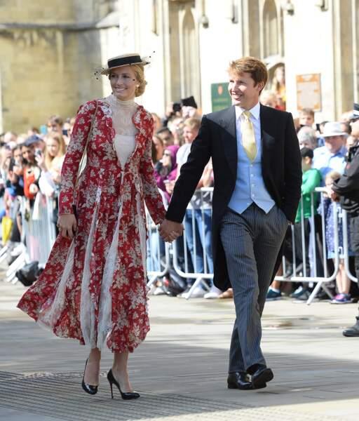 Le chanteur James Bunt et sa femme Sofia Wellesley au mariage d'Ellie Goulding, à Londres, le 31 août 2019.