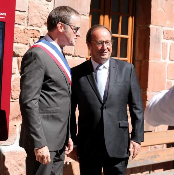 François Hollande au Mariage de Thomas Hollande et Émilie Broussouloux à Meyssac le 8 septembre 2018