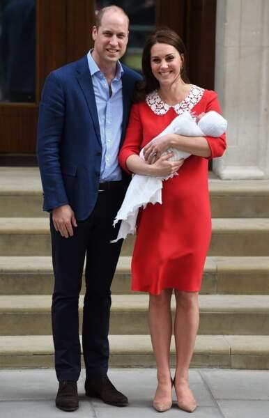 Kate Middleton et le prince William quelques heures après la naissance du prince Louis