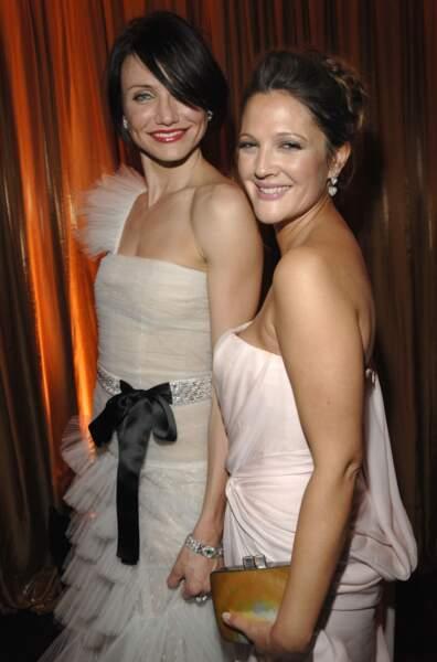 Cameron Diaz and Drew Barrymore à la soirée des Golden Globe Awards en 2007