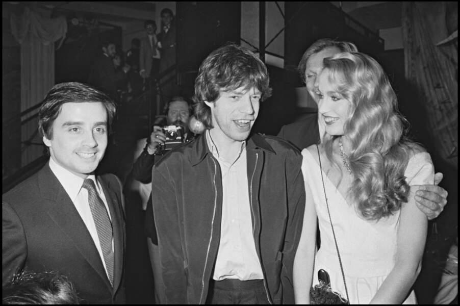 Thierry Le Luron avec Mike Jagger et Jerry Hall