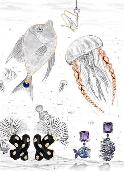 Bracelet Messika Paris ; Collier Lion Akillis ; Boucles d'oreilles, Fred ; Boucles d'oreilles De GRISOGONO