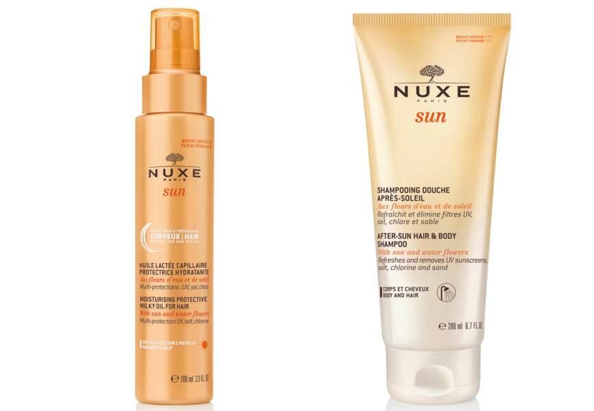 Nuxe, lait protecteur et shampoing douche après-soleil, 14,90€ et 9,90€