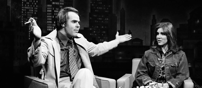 Carrie Fisher et Dan Akroyd sur le plateau du Saturday Night Live en 1978