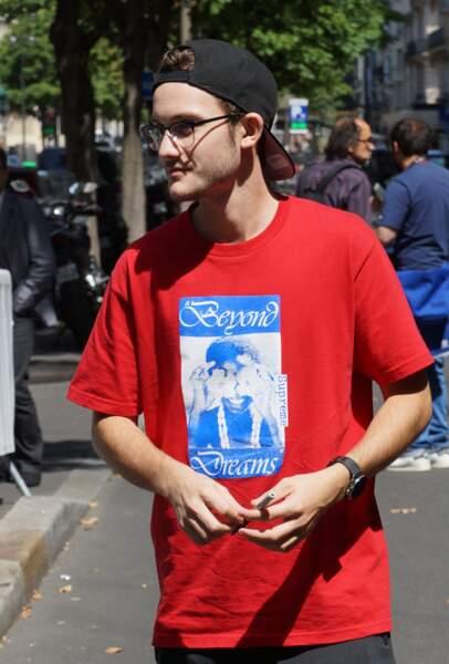 René-Charles Angélil devant l'hôtel Royal Monceau à Paris le 21 juillet 2017