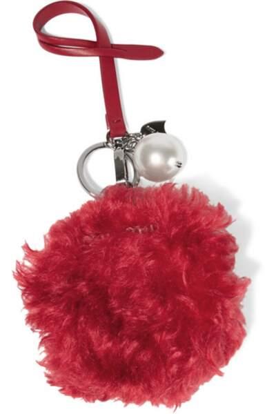 Porte-clés en peau lainée et en cuir orné d'une perle synthétique, Miu Miu - 240€