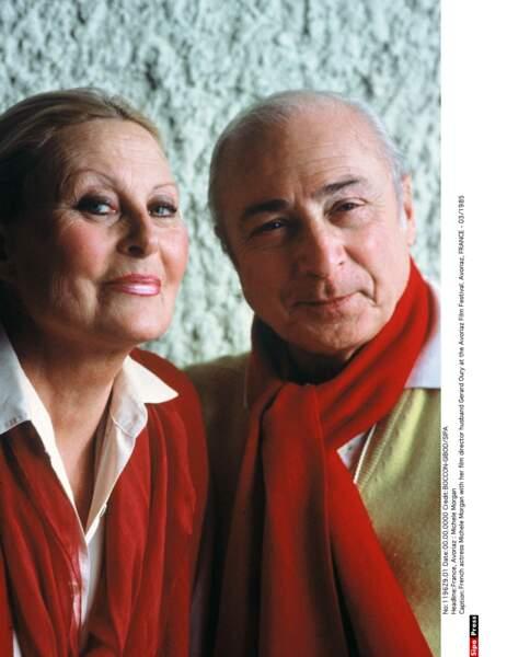 Michèle Morgan avec son époux Gérard Oury, en mars 1985