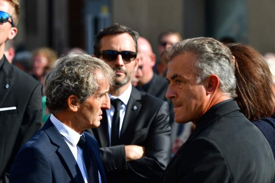 Alain Prost et Jean Alesi aux obsèques d'Anthoine Hubert à Chartres, le 10 septembre 2019
