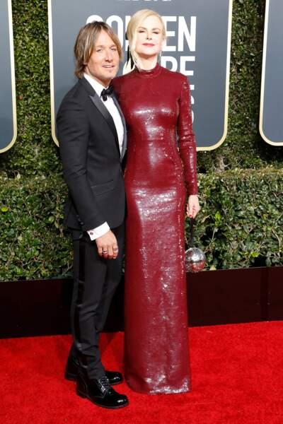 Nicole Kidman (en Michael Kors Collection ) et son mari Keith Urban,lors des Golden Globes, le 6 janvier 2019