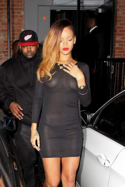 Rihanna quitte le Playhouse nightclub. Hollywood.