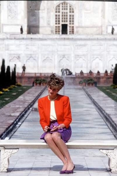 La princesse Diana devant le Taj Mahal, en 1992