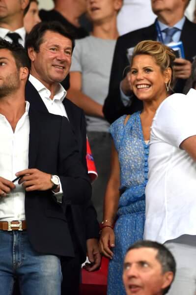 Jeunes parents comblés et bronzés, Christian Estrosi et sa femme Laura Tenoudji à Nice