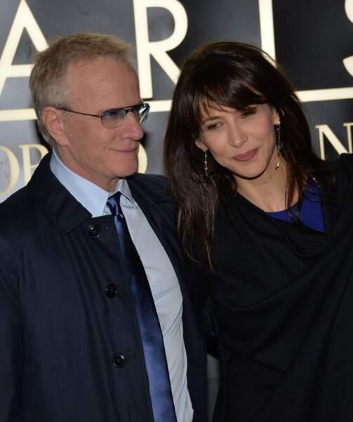Sophie Marceau et Christophe Lambert  au Palais de Tokyo a Paris, le 21 janvier 2014.