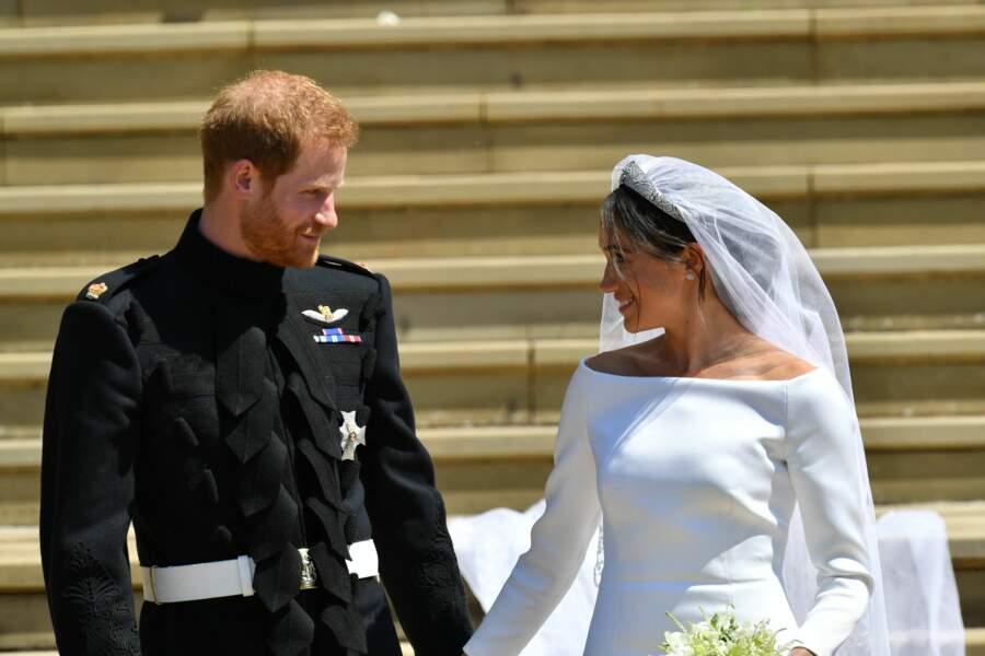 Le prince Harry et Meghan Markle après leur mariage