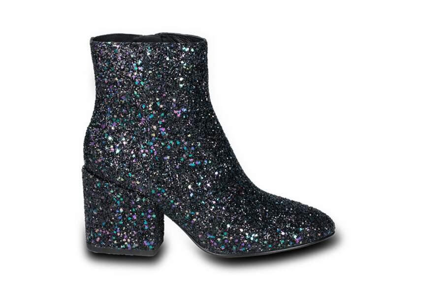 Boots à paillettes Erika Galaxy Midnight, ASH, 200€