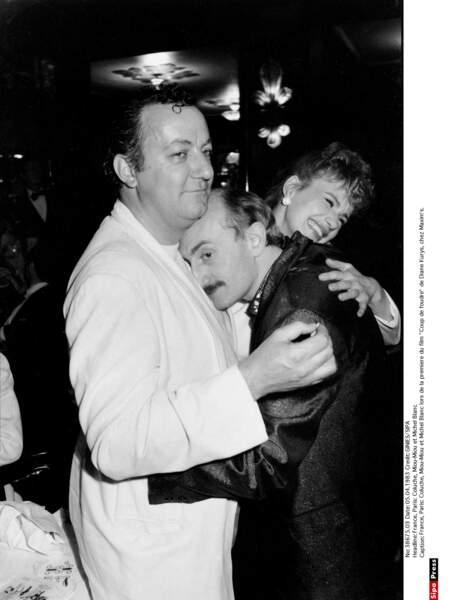 Miou-Miou, Coluche et Michel Blanc en 1983.
