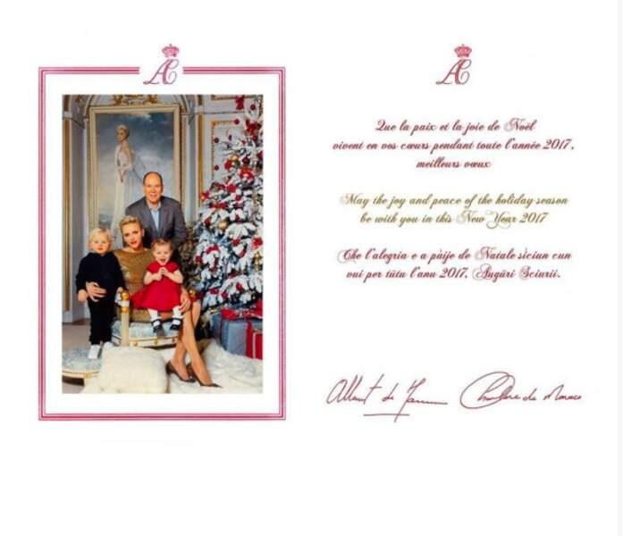 La carte de voeux de la famille princière de Monaco