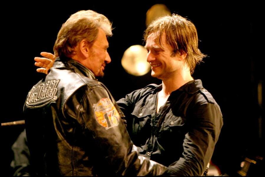 Johnny et David Hallyday sur scène à la Cigale à Paris en 2008