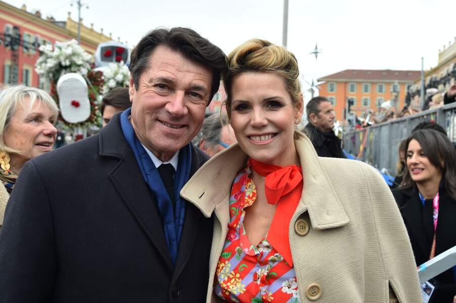 Christian Estrosi et Laura Tenoudji arrivent au carnaval de Nice