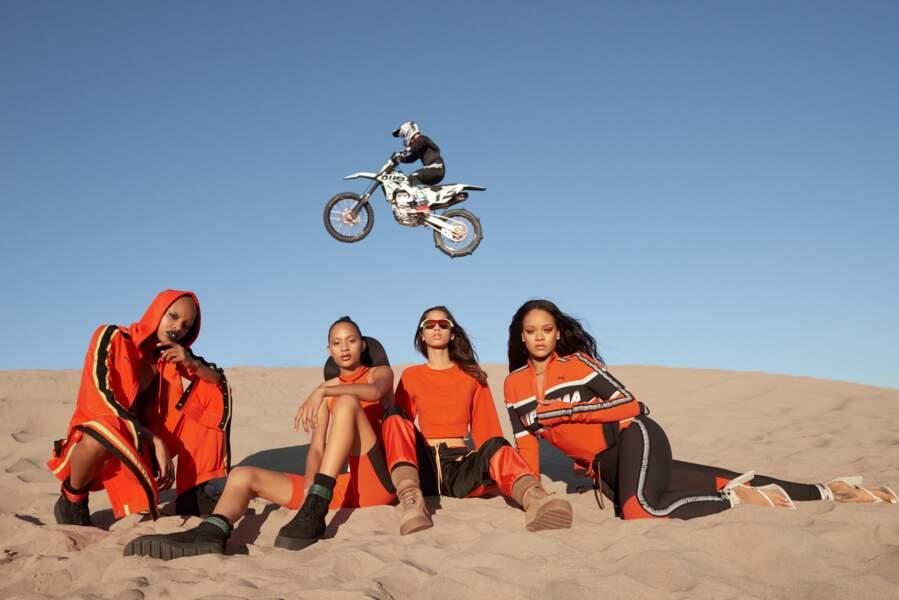 Rihanna pose dans la campagne Fenty Puma Printemps/été 2018 en mixant plage sexy et motocross