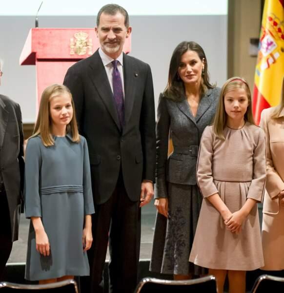 Le roi Felipe VI d'Espagne, la reine Letizia Ortiz et leurs filles la princesse Leonor et l'infance Sofia d'Espagne