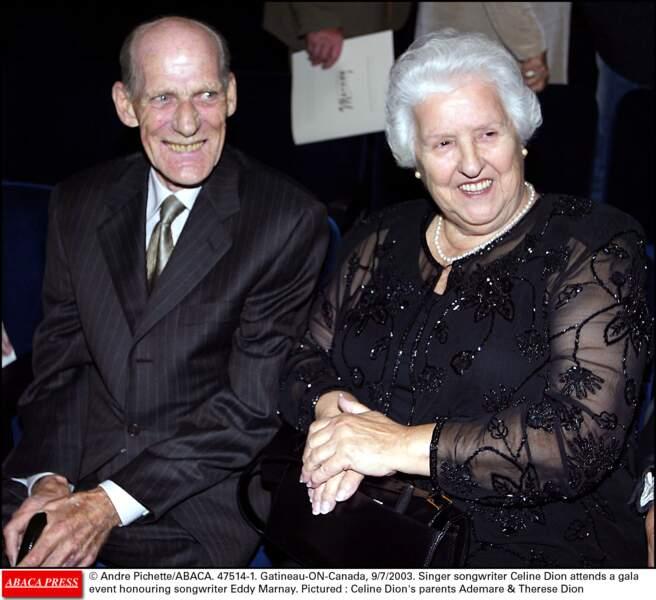 Adhémare et Thérèse Dion lors d'un gala en l'honneur d'Eddy Marnay au Canada en 2003