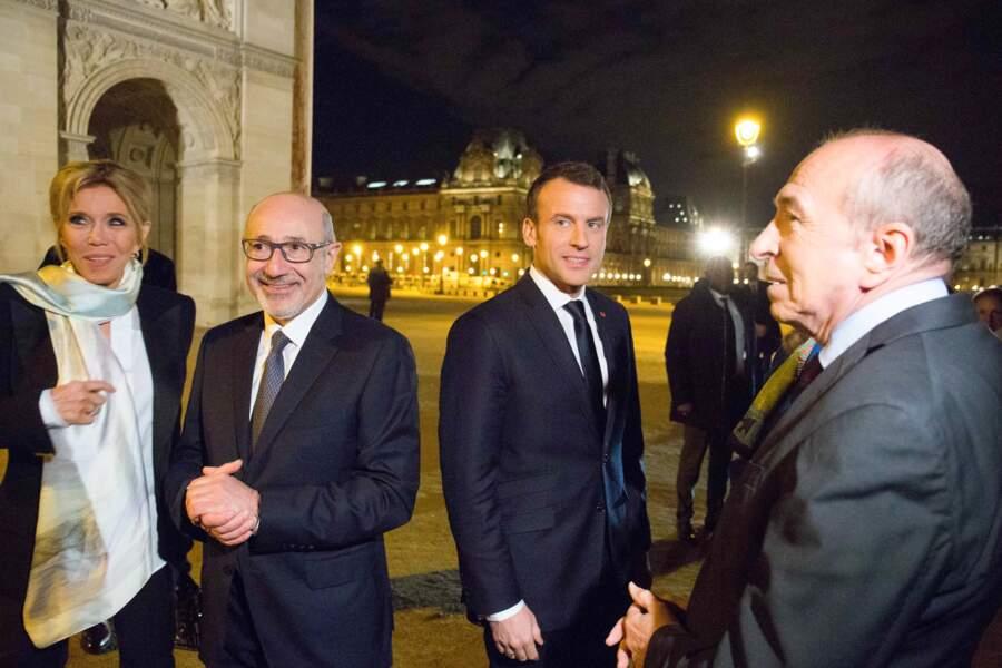Brigitte Macron, le président du Crif, Francis Kalifat ele président de la République française Emmanuel Macron
