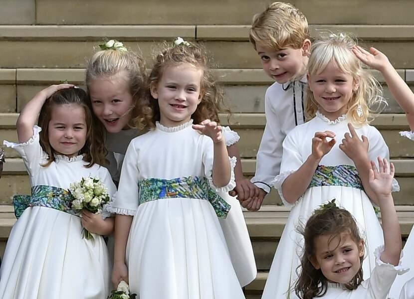 Charlotte, George, et les garçons et demoiselles d'honneur du mariage d'Eugenie d'York le 12 octobre 2018